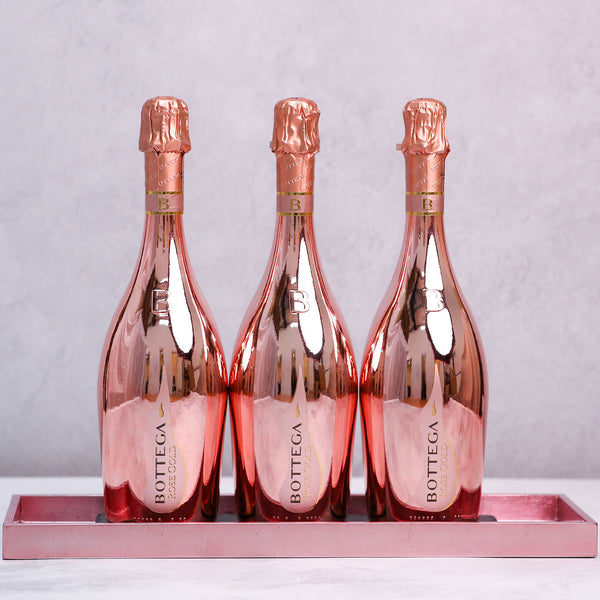 Trio of Bottega Rose Gold Prosecco