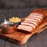 Crispy Roast Pork Belly with Apple Sauce and Red Wine Jus