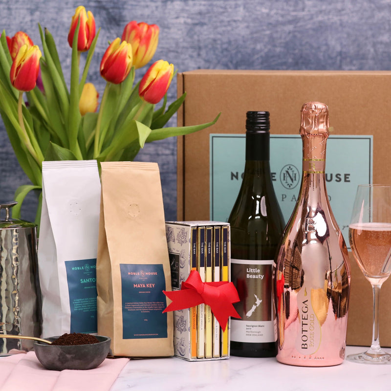 Gift Box: Coffee, Chocolate and Two Celebration Wines