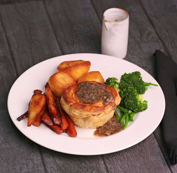 Roast Wild Mushroom, Leek and Sage Pie with Roasted Mushroom Gravy
