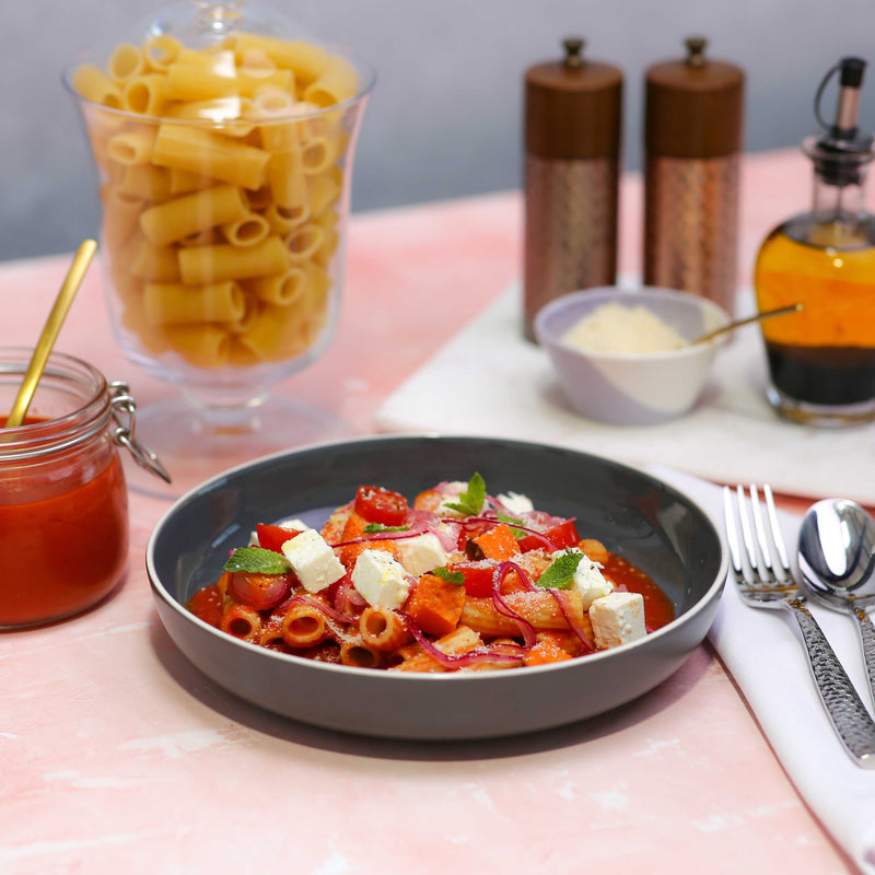 Sweet Potato, Tomato, Pickled Onion and Feta Pasta