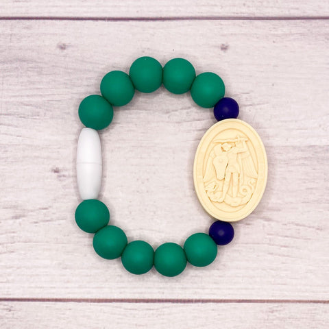 St. Joseph and St. Michael Saint Bracelet | Big Kid | Green and Navy
