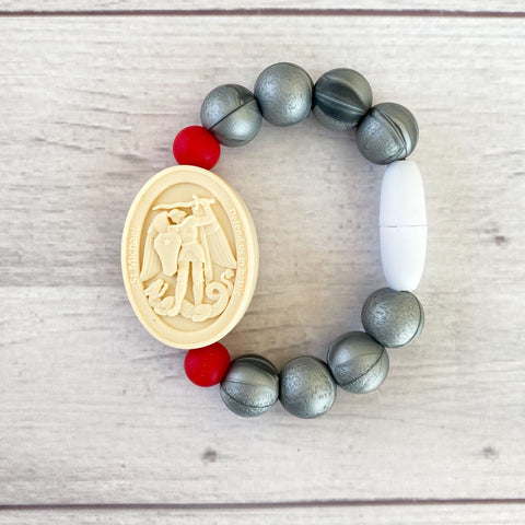 St. Joseph and St. Michael Saint Bracelet | Baby/Little Kid | Gray and Red