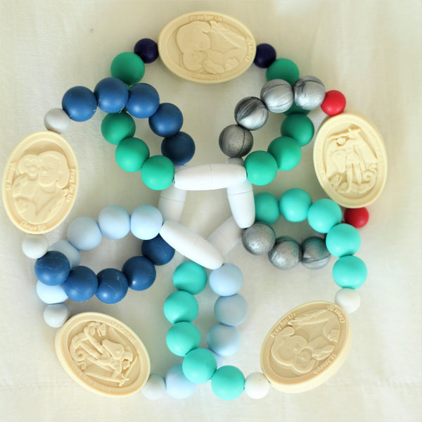 St. Joseph and St. Michael Saint Bracelet | Big Kid | Blue and Gray