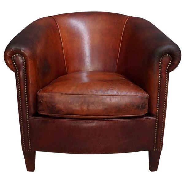 Dutch Vintage Cognac-Colored Leather Club Chair