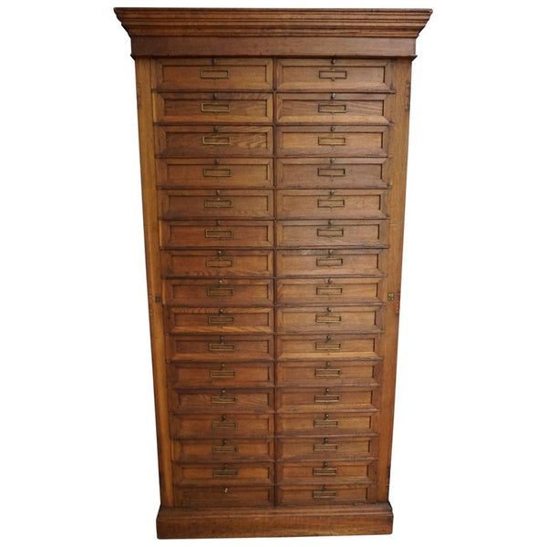 Antique French Oak Bank Cabinet with Drop Down Doors, 1900