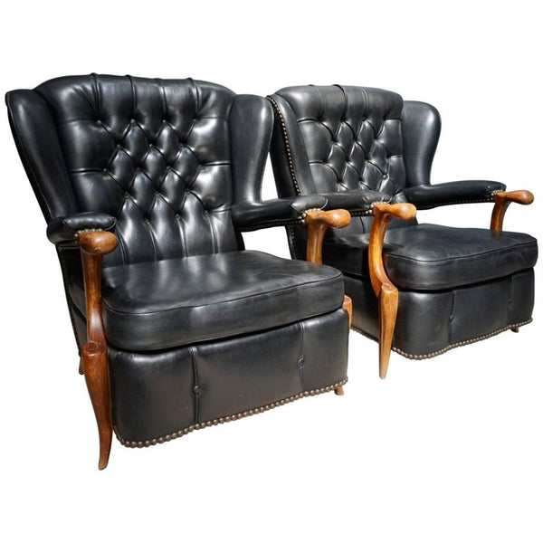 Pair of French Black Leather Chesterfield Club Chairs, 1940s