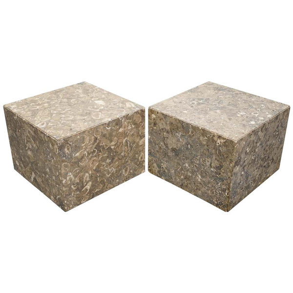 Pair of Italian Marble or Fossil Cube Side Tables