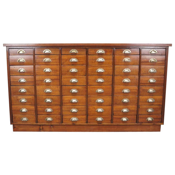 British Mahogany Apothecary Cabinet or Bank of Drawers, 1930s