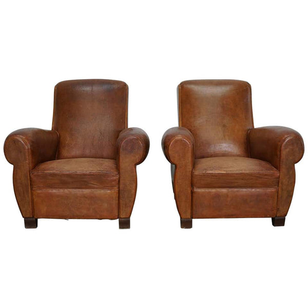 Pair of Vintage French Cognac Leather Club Chairs, Set of 2
