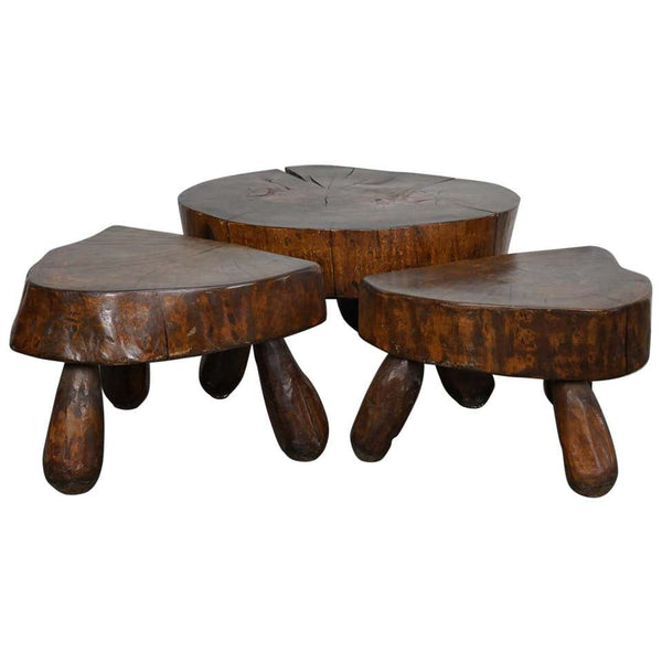 Set of Three Polished Walnut Log Coffee Tables, 1970s