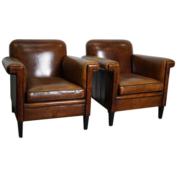 Vintage Dutch Cognac Leather Club Chairs, Set of 2