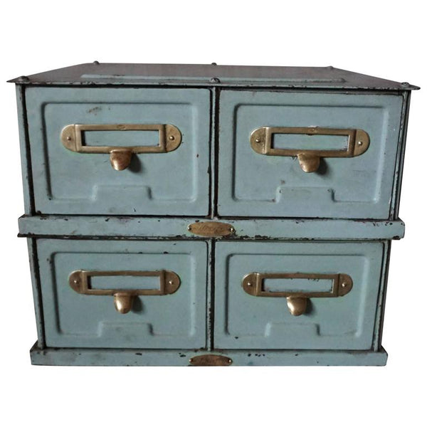 Baby Blue Industrial Metal Filing Cabinet from Strafor, 1930s