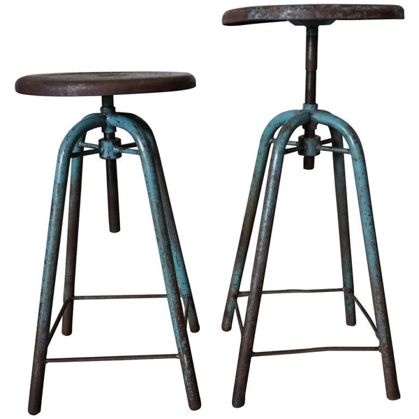 Pair of French Vintage Industrial Adjustable Stools
