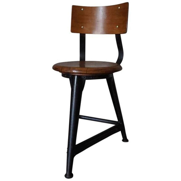 Vintage German Industrial Stool/Chair in Style of Rowac