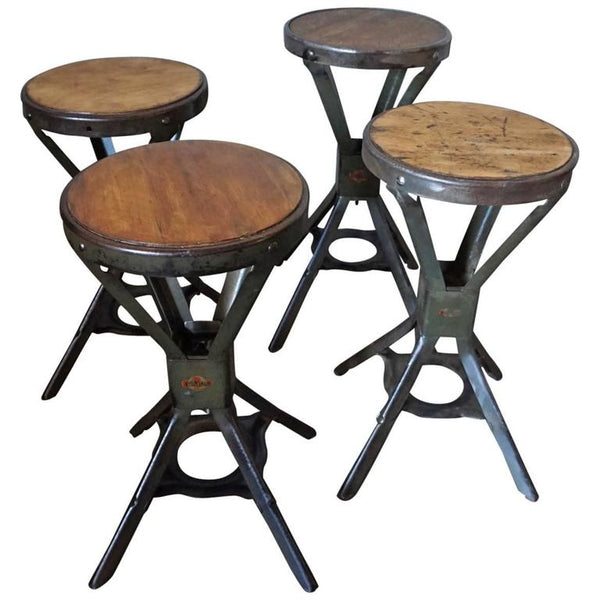 Set of Four Industrial Evertaut Stools, 1950s