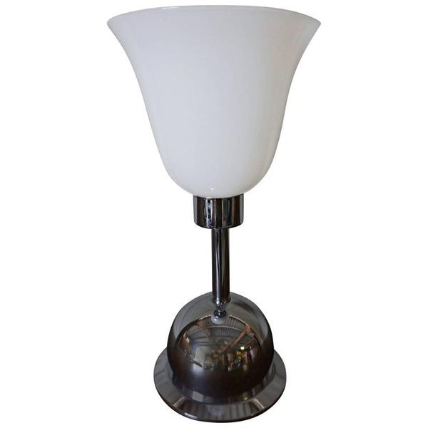 Chrome and Glass Art Deco Table Lamp