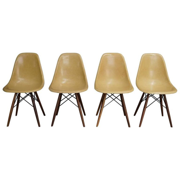 Ochre DSW Chairs by Charles and Ray Eames, 1950s, Set of Four