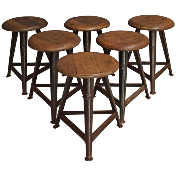 Vintage German Wood and Metal Stool from Rowac, 1930s