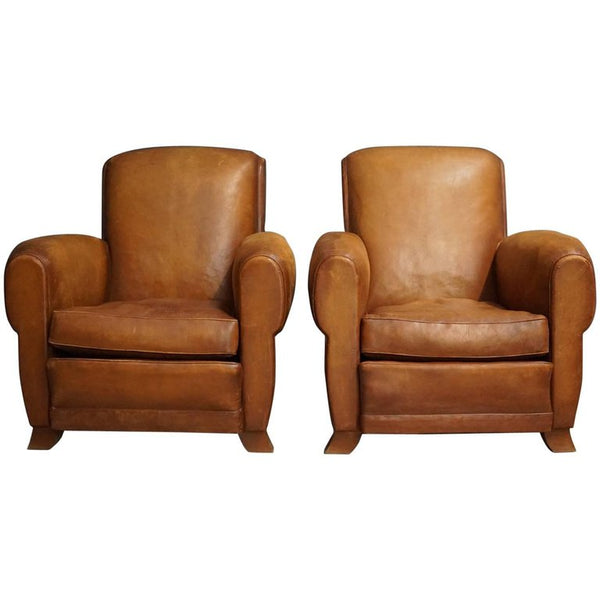 French Leather Club Chairs, 1940s, Set of Two