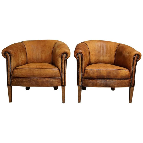 Vintage Dutch Cognac Leather Club Chairs, Set of Two