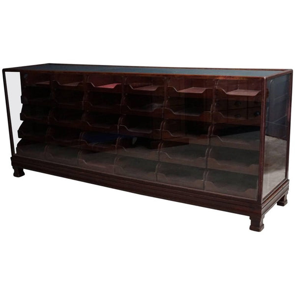 British Mahogany Haberdashery Cabinet or Shop Counter, 1930s