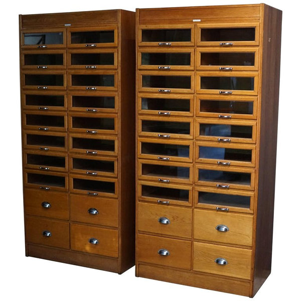 Oak Haberdashery Shop Cabinets or Retail Units, 1930s - 2 pcs available