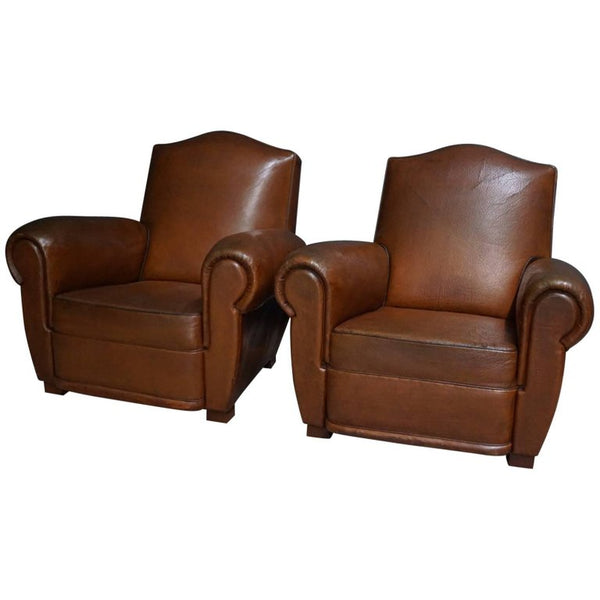 Vintage French Cognac Leather Club Chairs, Set of Two