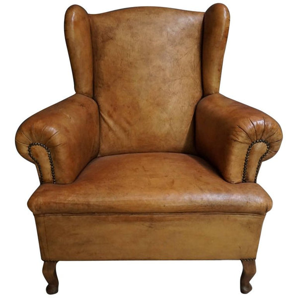 Antique Cognac-Colored Leather Club Chair