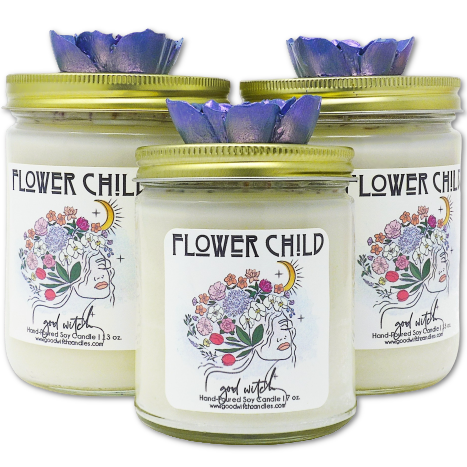 Flower Child Luxury Scented Candle | Scent: Full Bloom | Rose Petals and Organic Lavender | 100% Natural Soy Wax and premium fragrance