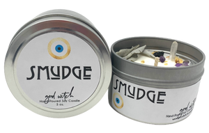 Smudge Smudging Sage Candle Palo Santo Candle Crystal Candle Luxury Scented Crystal Candles Soy Wax Clear Quartz Amethyst Candle Vigil Candle 7 Day Prayer Candle Evil Eye Candle