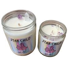 Load image into Gallery viewer, Star Child Crystal Candle | Scent: Ylang Ylang & Cannabis | Real Clear Quartz & Amethyst crystals | 100% Natural Soy Wax and premium fragrance