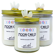 Load image into Gallery viewer, MOON CHILD Crystal Candle | Goddess Inspired | Sea Salt & Pink Orchid