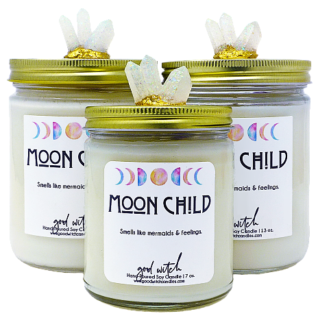 MOON CHILD Crystal Candle | Goddess Inspired | Sea Salt & Pink Orchid
