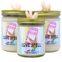 Load image into Gallery viewer, Love Spell Crystal Candle | Scent: Rose Quartz | Real Clear Quartz and Rose Quartz Crystals | 100% Natural Soy Wax and premium fragrance