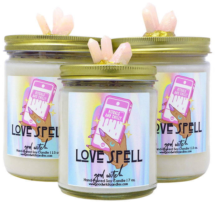 Love Spell Crystal Candle | Scent: Rose Quartz | Real Clear Quartz and Rose Quartz Crystals | 100% Natural Soy Wax and premium fragrance