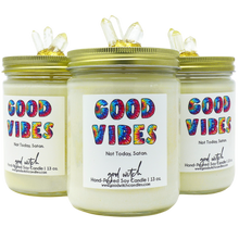 Load image into Gallery viewer, Good Vibes Luxury Scented Candle | Scent: Rose, Patchouli and Amber | 100% Natural Soy Wax and premium fragrance