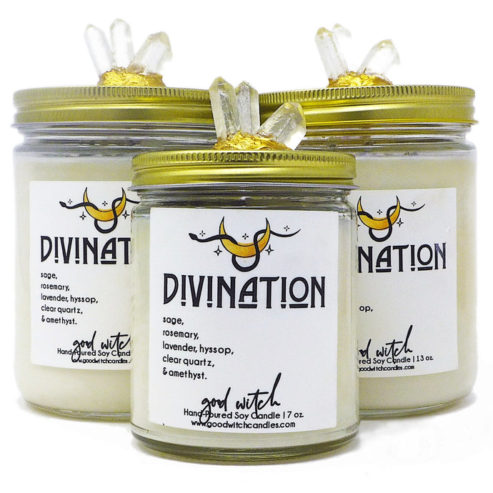 Divination Crystal Candle for Third Eye and Psychic | Scent: Rosemary, Eucalyptus and Sage | Real Clear Quartz & Amethyst crystals | 100% Natural Soy Wax and premium fragrance
