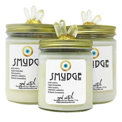 Smudge Candle Smudging Candle Sage Candle Palo Santo Candle Crystal Candle Luxury Scented Crystal Candles Soy Wax Clear Quartz Amethyst Candle Vigil Candle 7 Day Prayer Candle Evil Eye Candle Hippie Candle Hippy Candle Boho Candle Protection Candle Divination Candle Negativity Candle