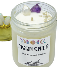 Load image into Gallery viewer, Moon Child Crystal Candle | Scent: Moonstone and Orchid | Real Clear Quartz, Amethyst, and Moonstone Crystals | 100% Natural Soy Wax and premium fragrance