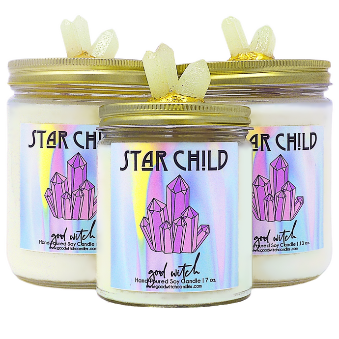 Star Child Crystal Candle | Scent: Ylang Ylang & Cannabis | Real Clear Quartz & Amethyst crystals | 100% Natural Soy Wax and premium fragrance
