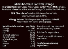Chocolate Bars (100g) Milk, Milk & Orange, Milk with Fruit & Nut and Dark.