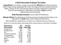 Chocolate Tea Cakes - Large Dark Chocolate with Ginger - Twin Pack (138g)
