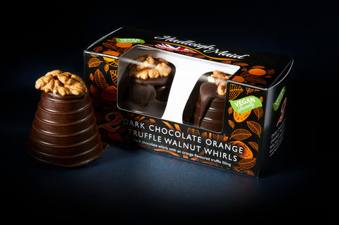 NEW VEGAN FRIENDLY Dark Chocolate and Orange Truffle Walnut Whirls - Twin Pack (100g)
