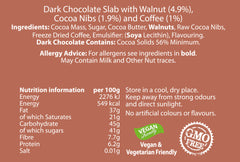 Dark Chocolate Coffee, Walnut and Cacao Nib Hand Decorated Vegan Friendly Bar Slab (100g)