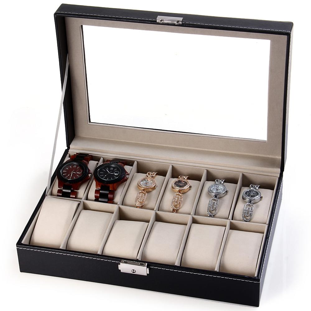 12 Grids Watch Display Case PU Leather Jewelry Storage Box Organizer - Watch Boxes - Gaghy.com