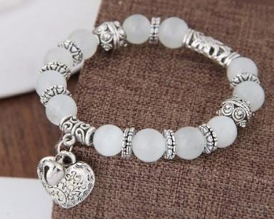Cat Eye Bead Heart Bracelet - TEROF