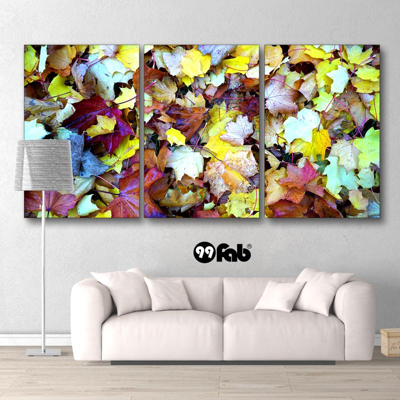 3 Panel Abstract Autumn Leaves Wall Art Canvas - wall art - Gaghy.com