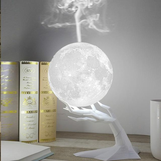 Ultrasonic Moon Air Humidifier with LED Night Lamp - led lamp - Gaghy.com