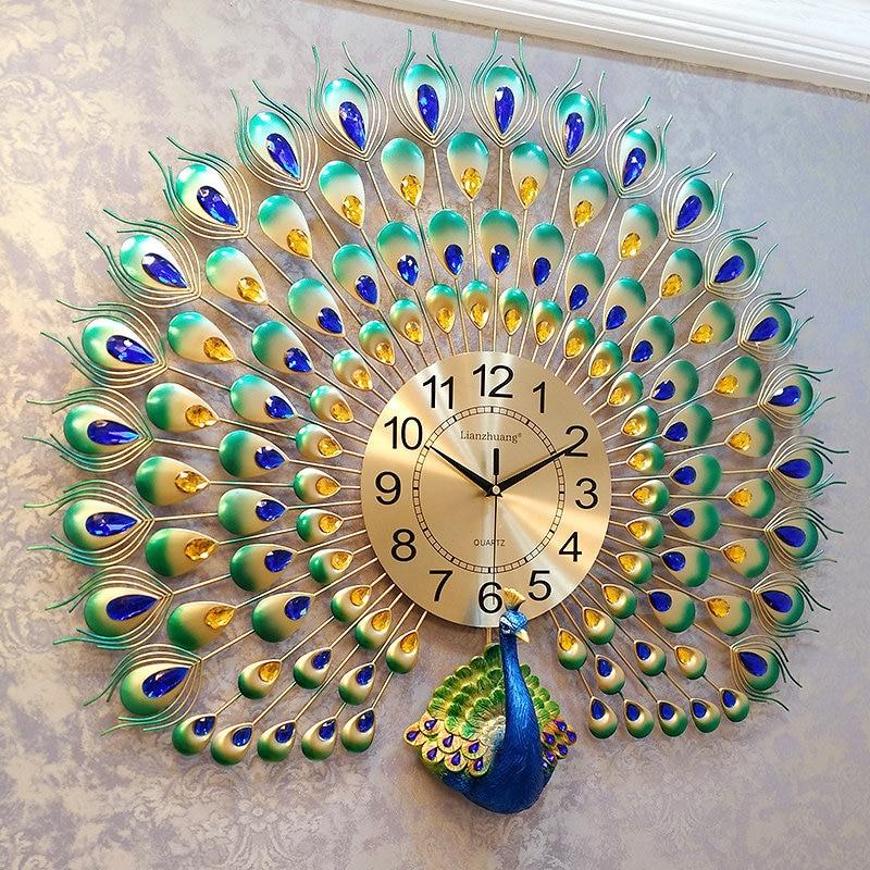 Peacock wall clock European living room creative clock - wall clock - Gaghy.com